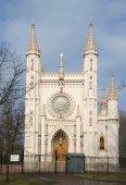 St. Alexander Nevsky Church (Gothic chapel) spring day. Peterhof — Stock Photo
