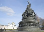 "View of the monument ""Millennium of Russia"" in Veliky Novgorod Kremlin — Stock Photo"
