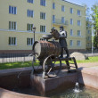 View of the monument-fountain of Kronstadt the water carrier. Kronstadt — Stock Photo #58756703