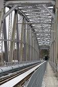 On a railway bridge on a cloudy November day — Stock Photo