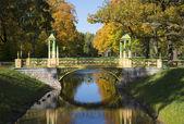 One of the pair of Chinese bridges Golden autumn. Tsarskoye Selo — Stock Photo
