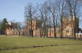 Buildings of Gothic stables spring day. Petrodvorets — Stock Photo