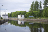 """Gateway """"Mustola"""" on the Saimaa canal summer cloudy morning. Finland — Stock Photo"""