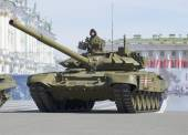 The machines T-90 on rehearsal of parade in honor of Victory Day. St. Petersburg — Stock Photo