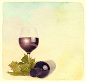 Wineglass, bottle of wine and grapes leaf. — Stock Photo
