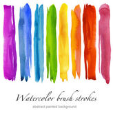 Set of colorful watercolor brush strokes. Isolated on white. — Stock Photo