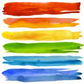 Conjunto de pinceladas de aquarela colorida. isolado no branco. — Fotografia Stock