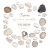 Frame of stones isolated on white — Stock Photo