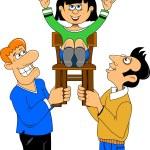 Men lift girl on a chair — Stock Vector #61557509