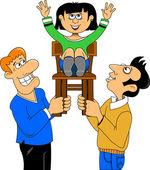 Men lift girl on a chair — Stock Vector