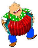 Cheerful accordion player — Vettoriale Stock