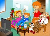 Famiglia guardando la tv — Vettoriale Stock
