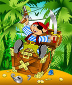 Funny pirate and treasure — Stock Vector