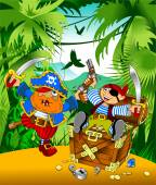 Pirates with treasure on island — Stockvektor