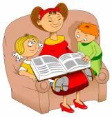 Mom reading  book for children — Stock Vector