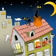 Cats on house roof — Stock Vector #70416699