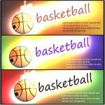 Постер, плакат: Set of basketball banners Flaming basketball