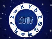 Natal chart, zodiac circle 2015 — Stock Photo