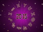 Astro Natal chart, zodiac circle 2015 — Stock Photo