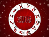 Natal chart, Zodiac astro circle 2015 — Stock Photo
