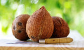 Three coconuts and a knife — Foto Stock
