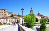 Old bridge in town of Salamanca — Stock Photo