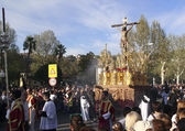 Religious Easter procession at Granada Spain — Foto Stock