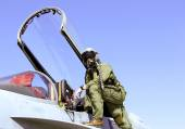 Fighter Pilot and Jet — Stock Photo