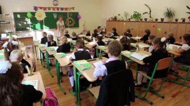 Schoolchildren in classroom — Stock Video