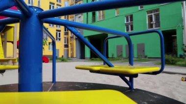Merry-go-round on children playground — Stock Video