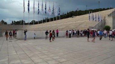 People near Panathenaic Stadium in Athens — Stock Video