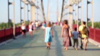 Anonymous people on bridge — Stock Video