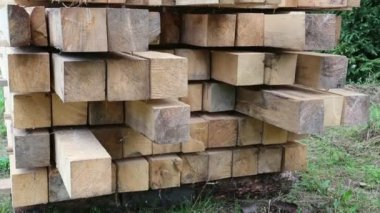 Wooden squared timbers — Stock Video