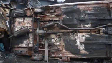 Сожженный автомобиль — Стоковое видео