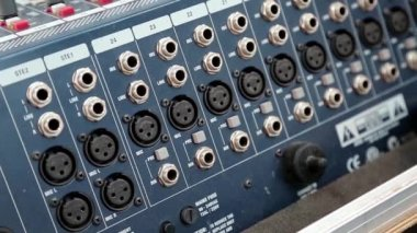 Audio production console sockets — Vídeo stock