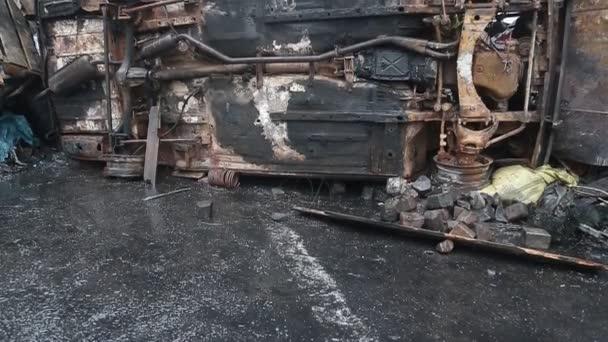 Coche quemada — Vídeo de stock