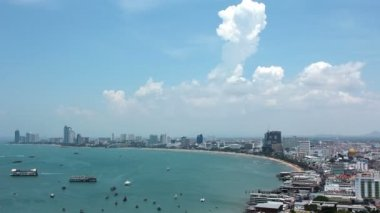 Panorama view of seascape at Pattaya bay — Stock Video