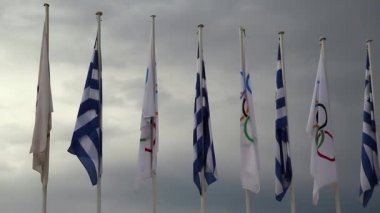 National and Olympic flags — Stock Video