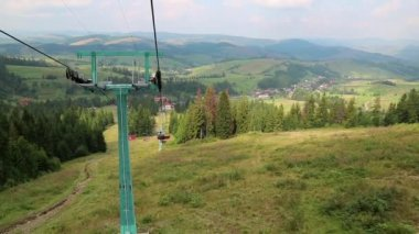 Chair lift in Carpathian Mountains — Stock Video
