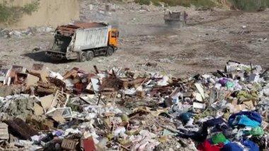 Garbage trucks on dump — Stock Video