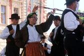 Członkowie grupy folk casamazzagno, gruppo folkloru i legare z włoch podczas 48 festiwal folklorystyczny w zagrzebiu — Zdjęcie stockowe