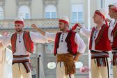 Members of folk group Albanian Culture Society Jahi Hasani from Cegrane, Macedonia during the 48th International Folklore Festival in Zagreb — Stock Photo