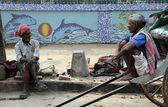 Rickshaw driver working in Kolkata — Stock fotografie