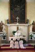The priest celebrating Mass for pilgrims in the Catholic Church Saint Jerome in Herceg Novi, Montenegro — Stockfoto