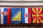Flags of countries of the former Yugoslavia — 图库照片