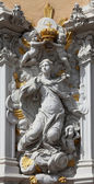 Virgin Mary, House of Falcon, the finest Rococo style building in the city, Wurzburg, Germany — Stock Photo