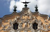 House of Falcon, the finest Rococo style building in the city in Wurzburg, Germany — Stock Photo