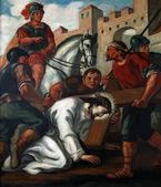 7 droga krzyżowa, jezus upada po raz drugi — Zdjęcie stockowe