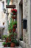 Mediterranean house with flowers in Kotor, Montenegro — Foto Stock