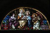 Saint Ann, stained glass window — Stock Photo